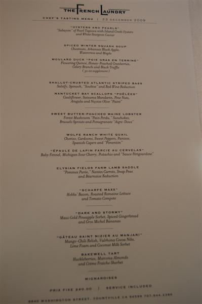menu medium The French Laundry   12/23/09